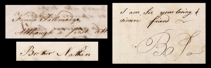 Samples of correspondence between Nathan Hale and Benjamin Tallmadge. The original letters can be found at the Beinecke Rare Book and Manuscript Library at Yale University.