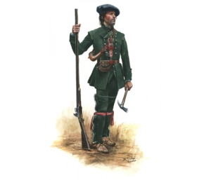Rogers' Rangers, Private c. 1756, by Don Troiani. A meticulously-researched depiction of a ranger from the French & Indian War era. The Queen's Rangers of 1776 would not have worn similar outfits.