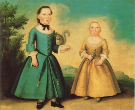 """Portrait of Two Children"" attributed to Joseph Badger (Abby Aldrich Rockefeller Folk Art Museum, 57.100.15). Young boys and girls in paintings like these were often distinguished by the objects and toys they were holding. The child on the left is a boy with a pet squirrel."