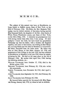 Benjamin Tallmadge outlines his immediate family tree, which includes the proper names of his father and brothers, on page one of his Memoirs. Click to enlarge.