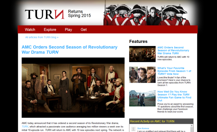TURN is officially renewed for a second season! Click above to see the news on AMC's website.