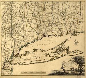 """Map of Connecticut and Parts Adjacent,"" 1777. If you look closely you can see Suffield, CT (top center), Fairfield (central CT coast), Setauket (North shore of LI), and Crane's Point. Map courtesy of the Historical Map Collection (MAGIC) at UConn: http://magic.lib.uconn.edu/historical_maps.htm"