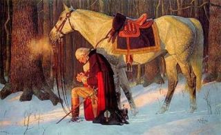 The original painting by Arnold Friberg is a romanticized depiction of Washington praying at Valley Forge. While there is no historical record of Washington praying in this manner (i.e. on his knees in the snow), Washington's beliefs in the actions of Divine Providence (detailed below) are well-established fact.
